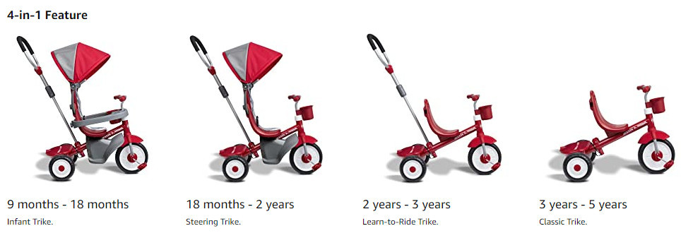 Classic Radio Flyer 4-in-1 Stroll 'N Trike Toddler Tricycle