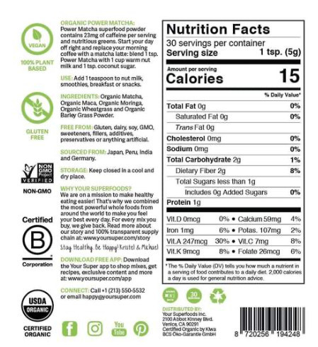 what is power matcha - nutrition list
