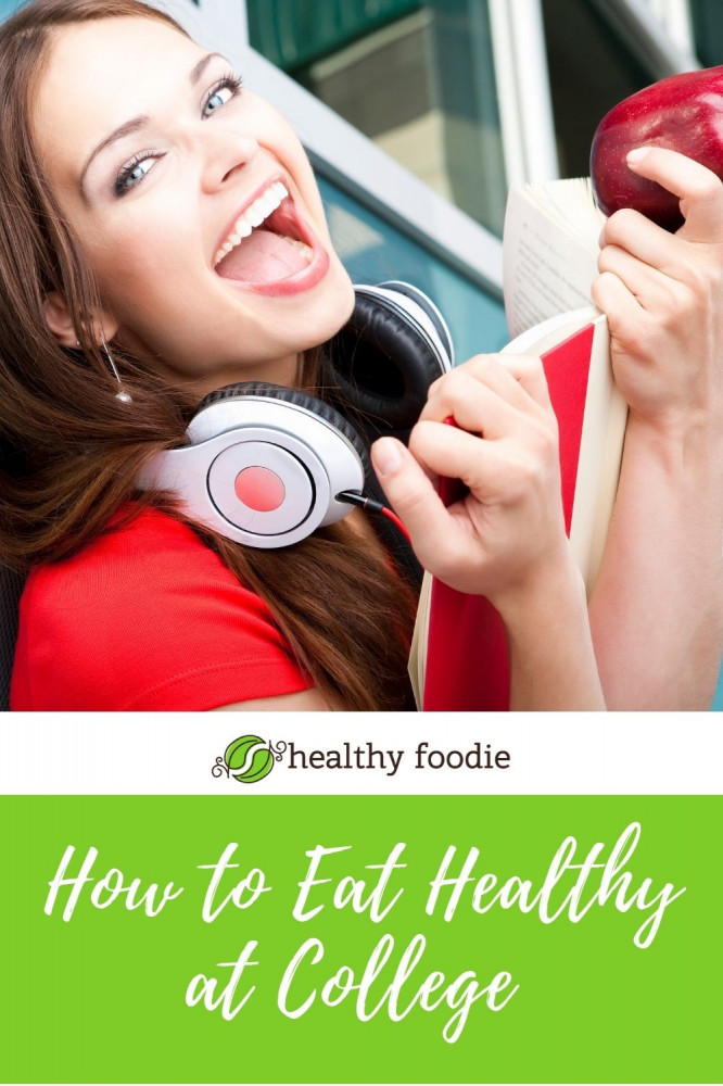 How to Eat Healthy at College - girl eating apple