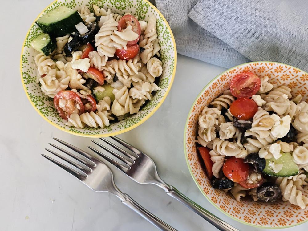 healthy pasta salad served
