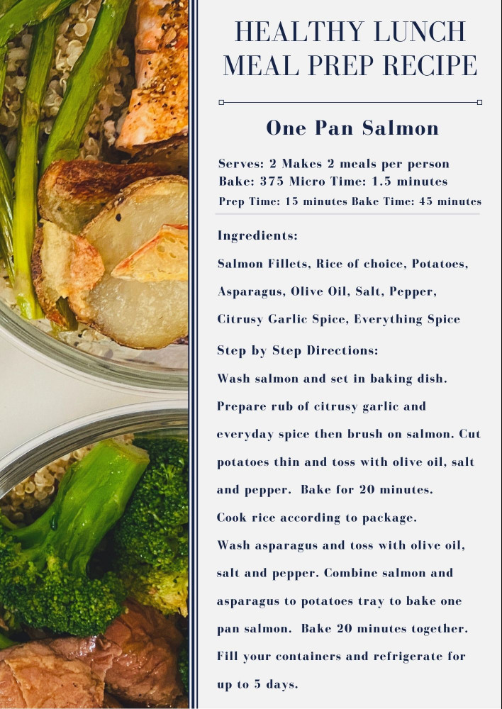 one pan salmon recipe for healthy lunch meal prep