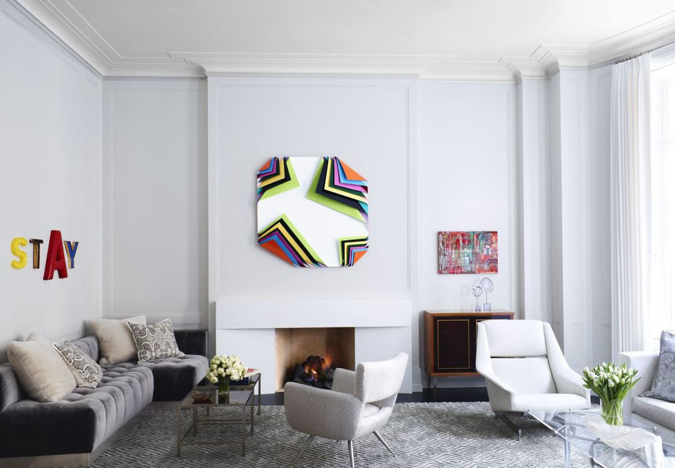 pop art in gray living room