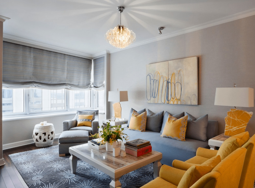 yellow and gray colour in living room