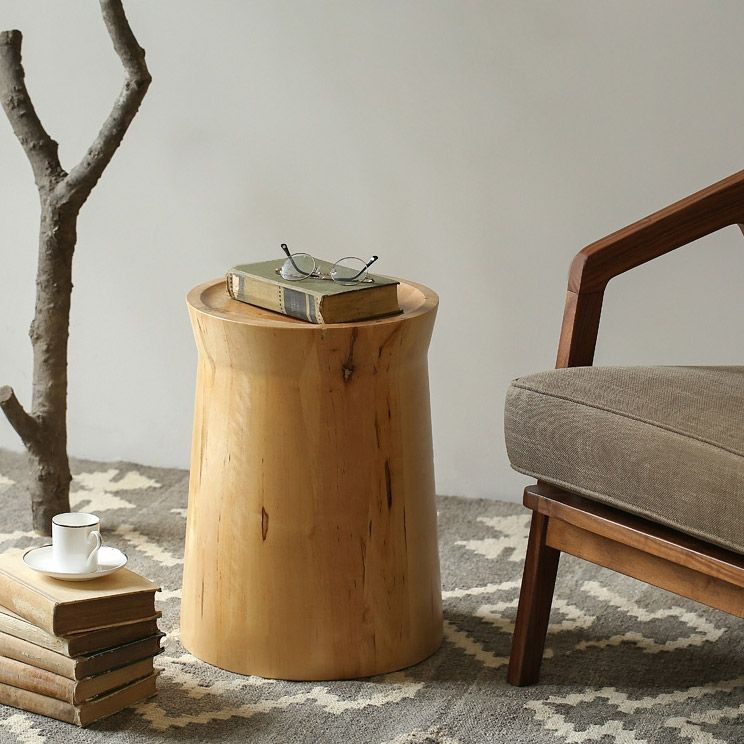 Tree stump style wooden side coffee table