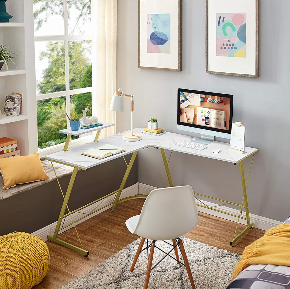 Corner Desk in white-gold with monitor stand   Your Casa Concept