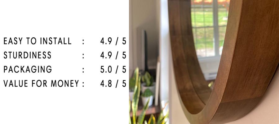 Wooden rim round mirror | Your Casa Concept