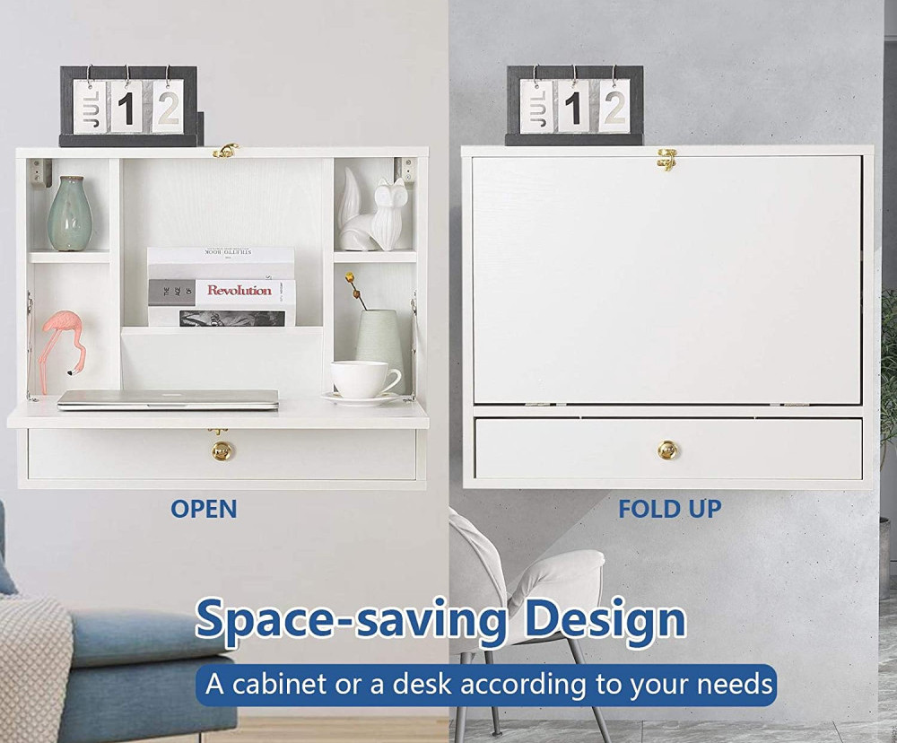 Wall Mounted Foldable Table With Shelves and Drawer   Your Casa Concept