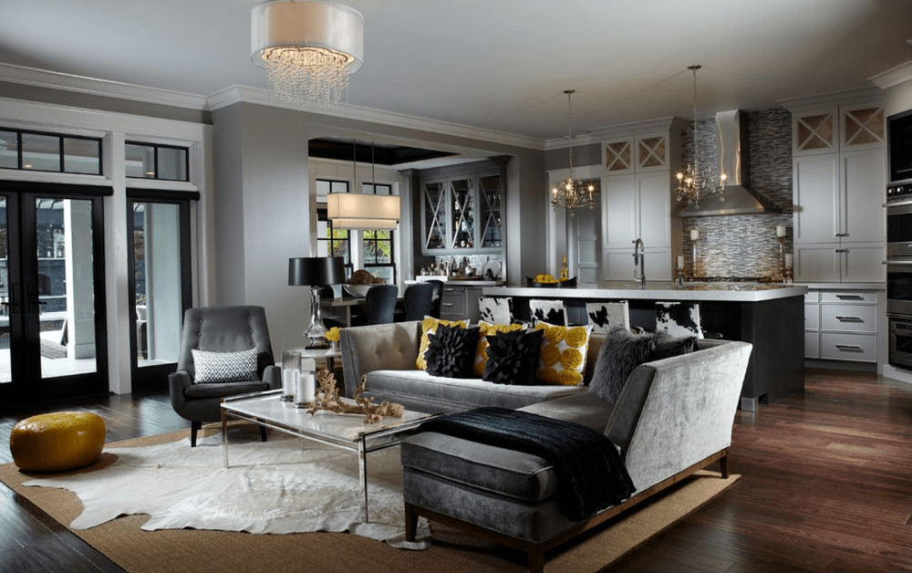 Luxurious and grand gray living room