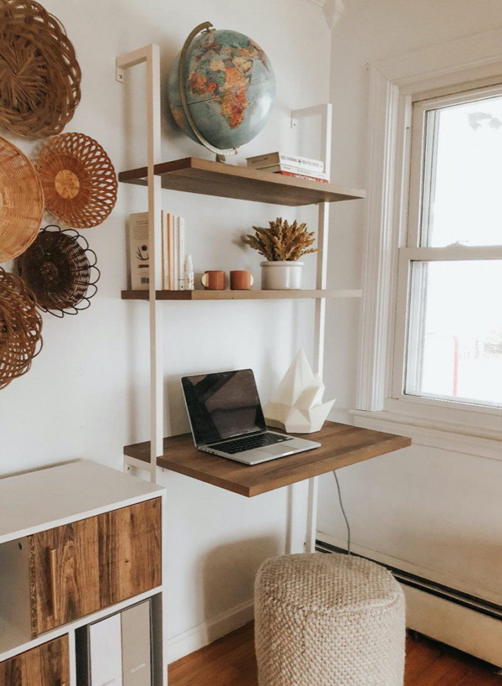 Wall Mount desk with shelves   Your Casa Concept