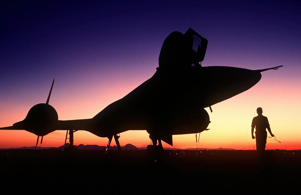 SR-71 Blackbird parked
