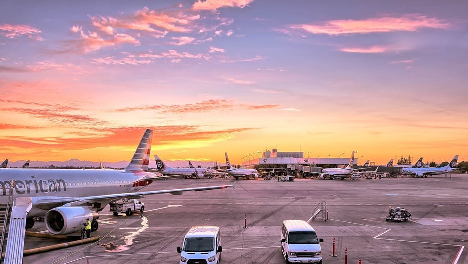planes parked on airport