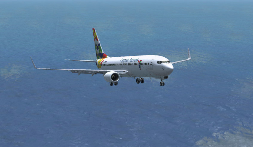 Cayman Airways landing in flight simulator