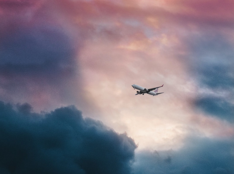 plane flying in turbulent weather