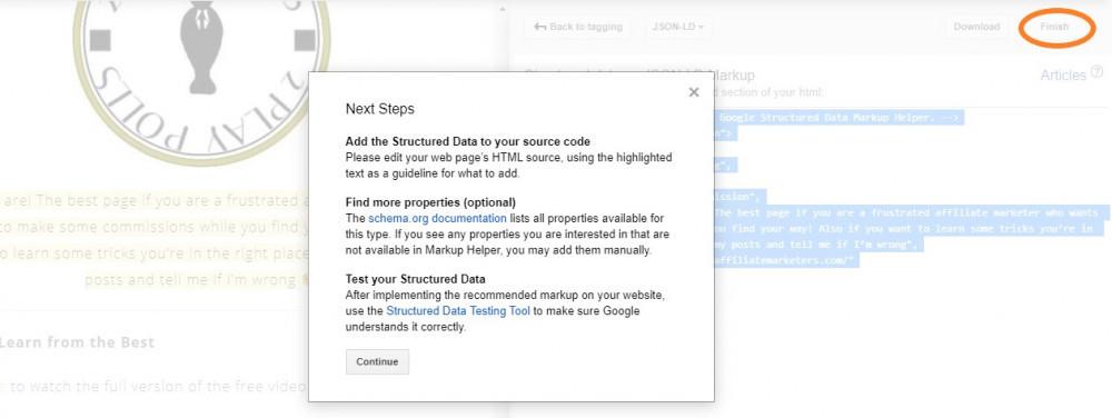 google structured data markup helper next steps
