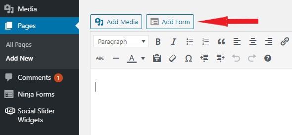 How to add a form to a page on WordPress