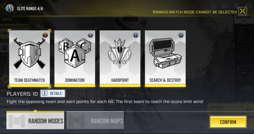 Cod Mobile Ranked Match Modes