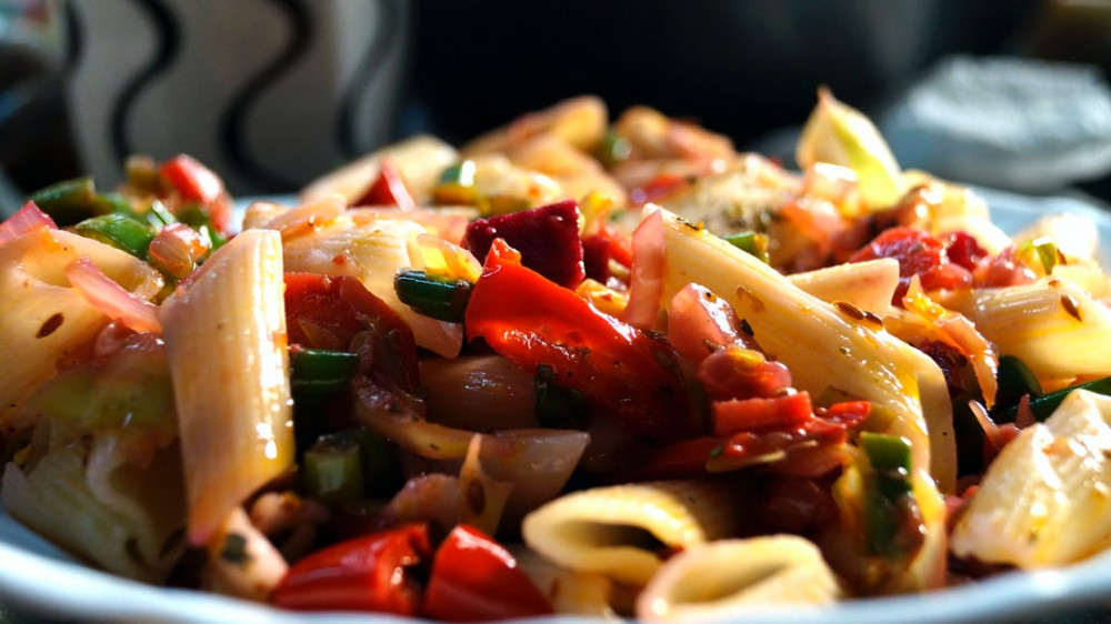 A close up of a colourful pasta dish
