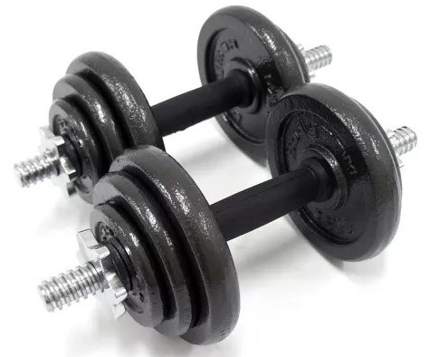 A pair of black and silver dumbbells on a white background
