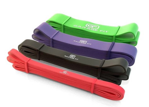 Red, black, purple and green Garage Fit resistance bands