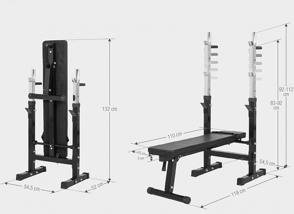 Two images of the Gorilla Sports Weight Bench showing the dimensions when set up and when folded away