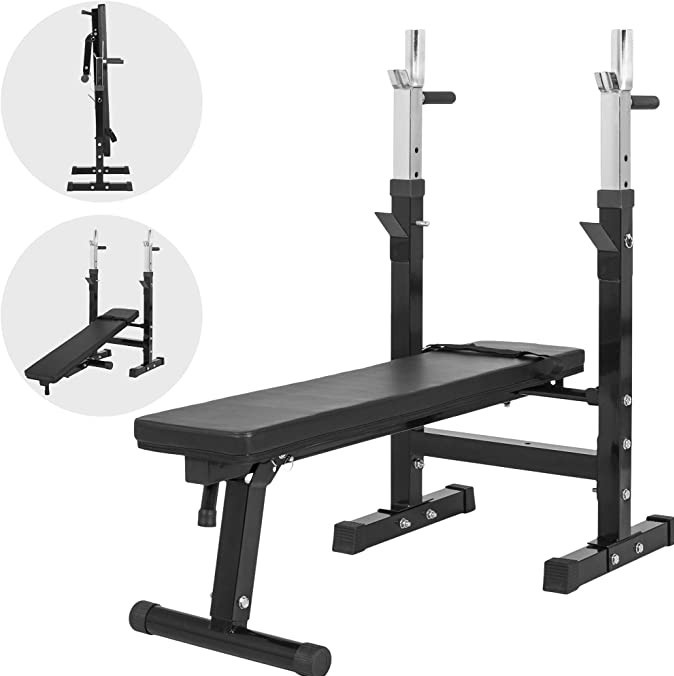 The black Gorilla Sports Weight Bench with adjustable barbell rack on a white background