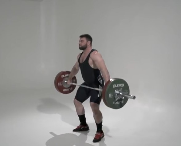 Man performing the pull section of the snatch lift