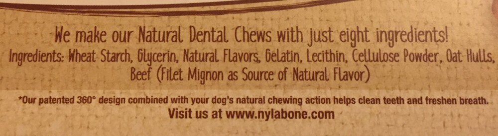 Nylabone Natural Nutri Dent Dental Chew Treats Ingredients List