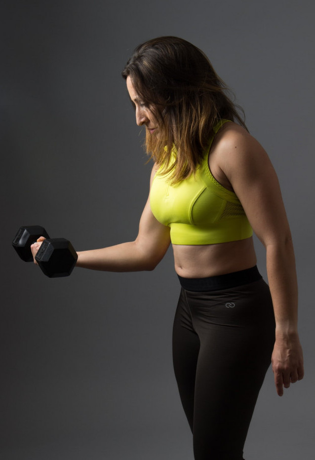 image woman with dumbbell