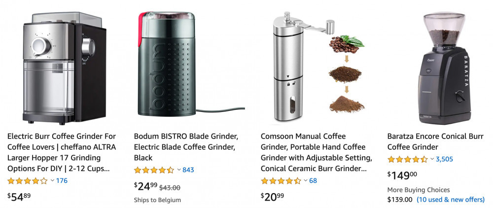 Selection of coffee grinders