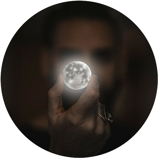 man holding small moon