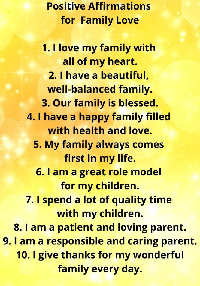 positive affirmations for family love