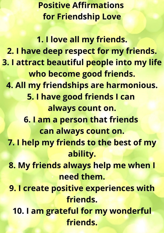 positive affirmations for friendship love