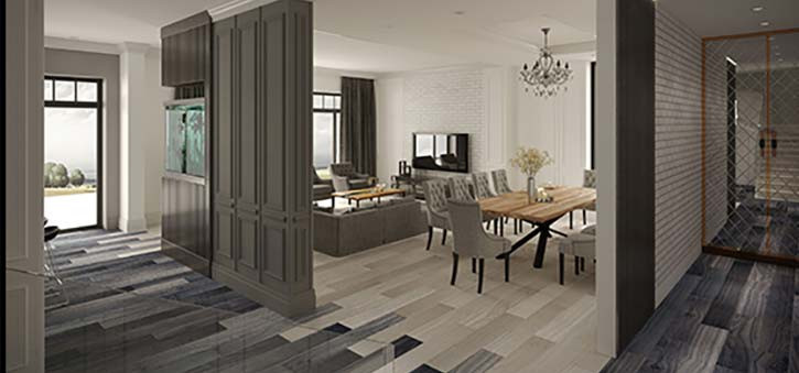 An interior of a home designed using Autodesk.