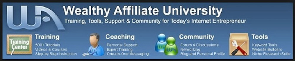 Banner: Wealthy Affiliate University. Training, tools, support & Community for today's Internet Entrepreneur. Icons: Training, Coaching, Community and Tools.