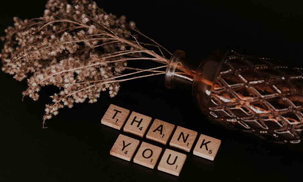 Thank You and dried flowers