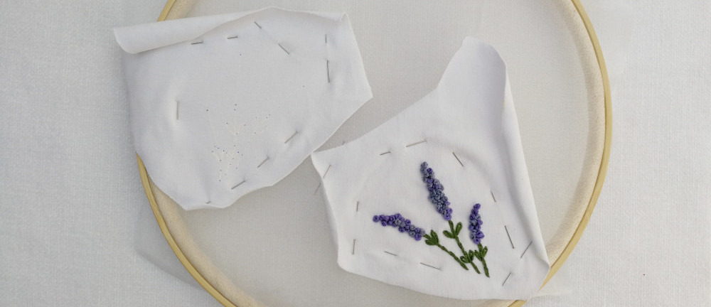 hand embroidery face mask for adults lavender flower french knots