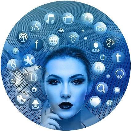 a lady with network and social media icons floating around