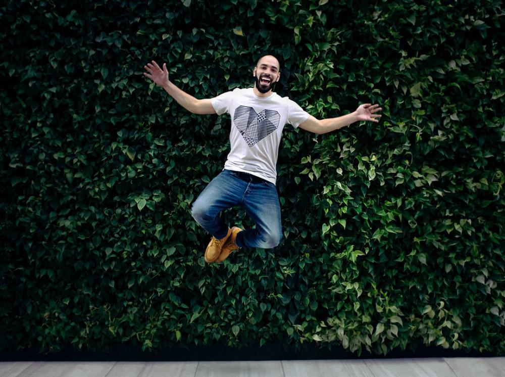 ecstatic man jumping up