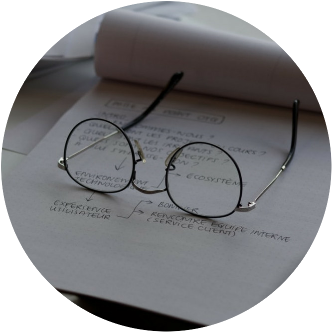 copy on the paper with glasses on top