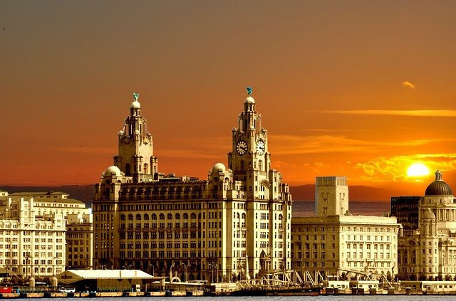liverpool town in sunset