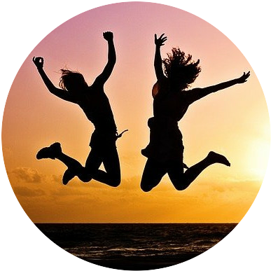 two people jumping happy in freedom