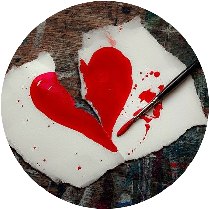 red heart broken in half