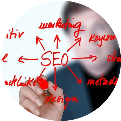 seo and keywords on the glass board