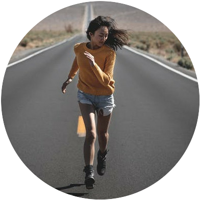 running lady on an empty road