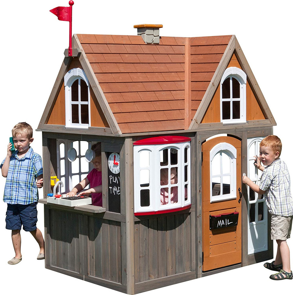 KidKraft Greystone Cottage Playhouse With EZ Kraft Assembly Fun Outdoor Games For Kids