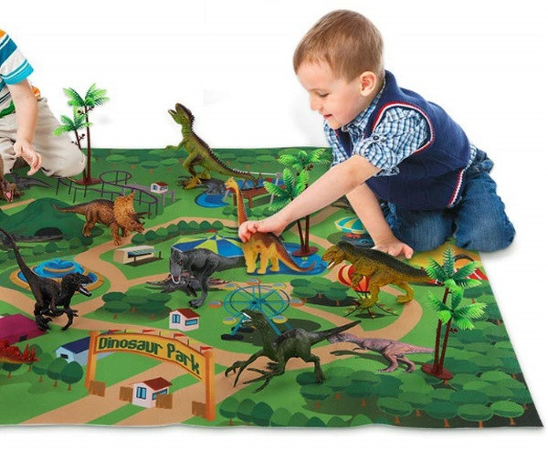 Temi Dinosaur Toy Figure With Activity Play Mat And Trees