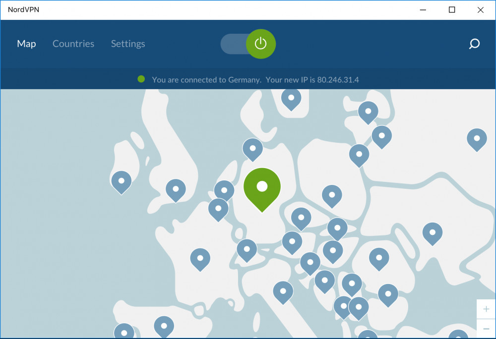 A NordVPN example server selection screen