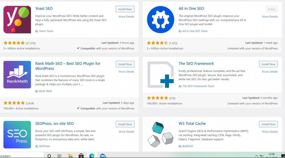 SEO plugins from WordPress, screenshot