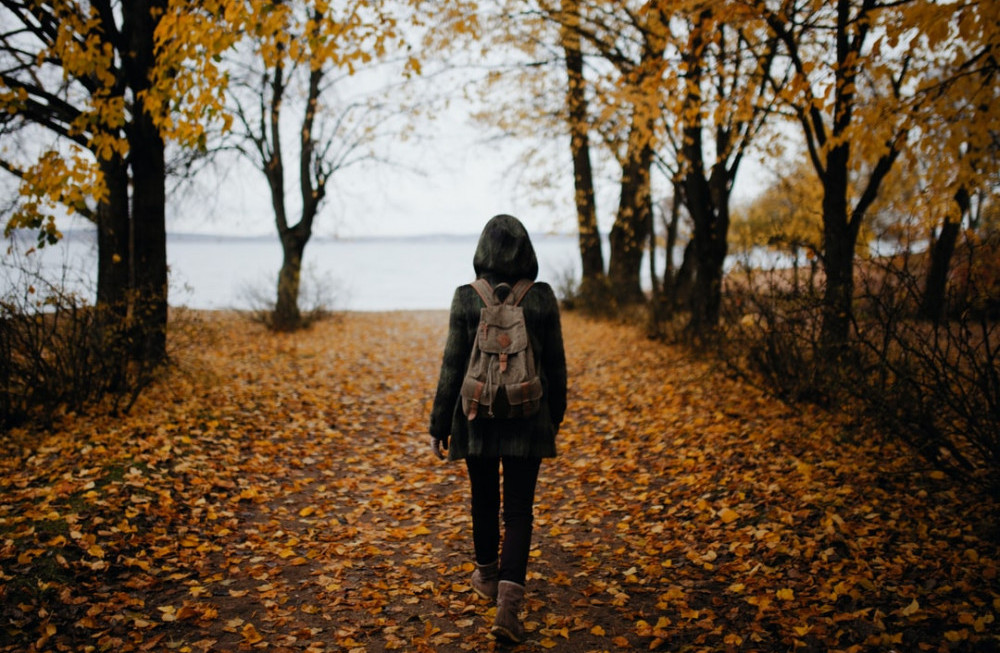 a woman with a hood and a backpack , walking towards the sea while it is autumn, yellow/brown leaves are on the ground