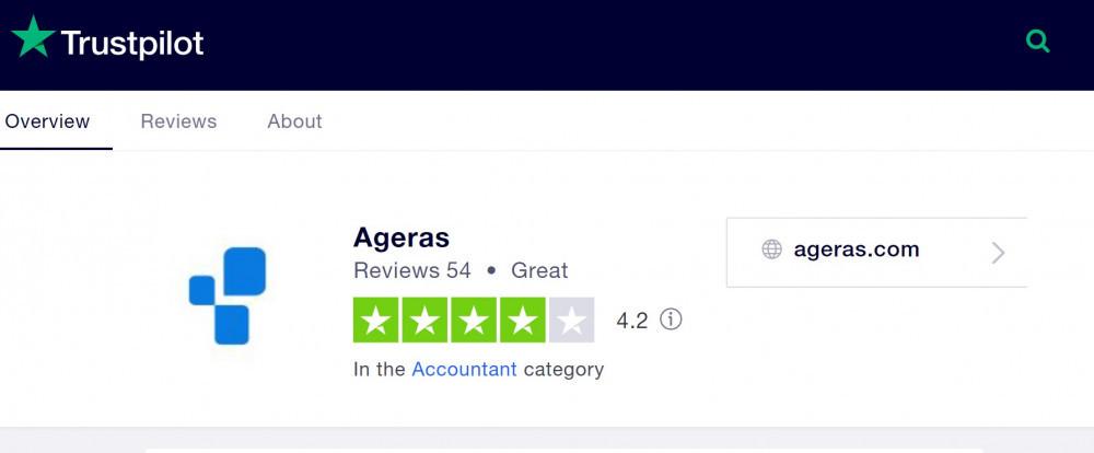 Trustpilot rating Ageras